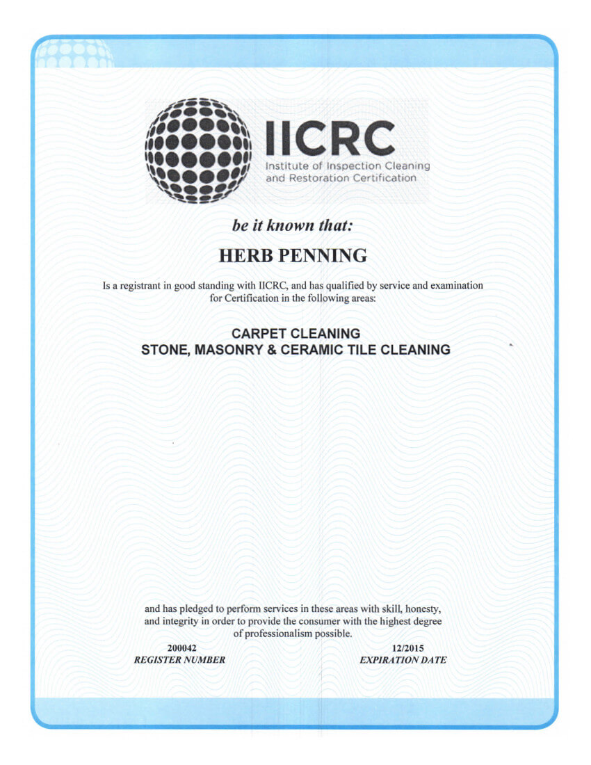 Panda Is An Iicrc Certified Firm Panda Carpet And Tile Cleaning